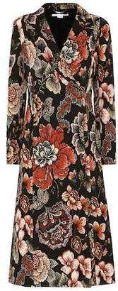 Floral-jacquard coat