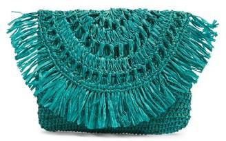 Mar Y Sol Mia Woven Raffia Clutch - Blue $49 thestylecure.com