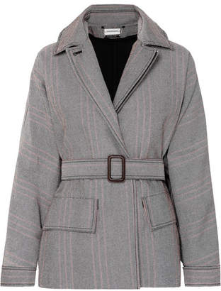By Malene Birger Rawil Belted Checked Cotton-blend Twill Jacket - Gray