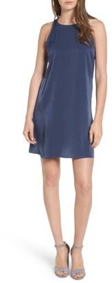 Women's Everly Ruffle Back Satin Shift Dress $55 thestylecure.com