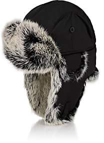 Crown Cap Men's Fur-Trimmed Down-Filled Aviator Hat-Black