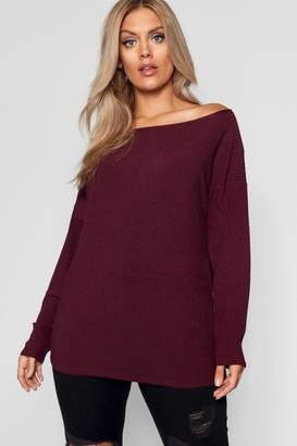 boohoo Plus Off The Shoulder Knitted Jumper