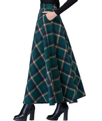 Femirah Women's Wool Maxi Skirt A-Line Pleated Vintage Plaid Winter Swing Skirts