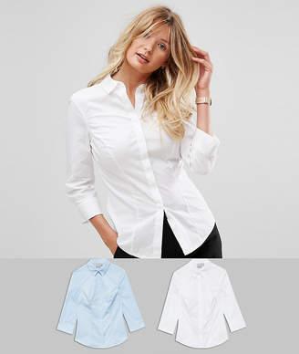 Asos DESIGN fuller bust 3/4 sleeve shirt in stretch cotton 2 pack