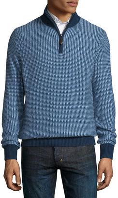 Neiman Marcus Textured Cashmere Quarter-Zip Sweater $395 thestylecure.com