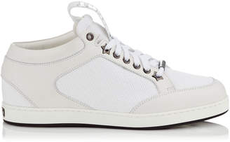 Jimmy Choo MIAMI White Canvas and Leather Sneakers with Logo Pull