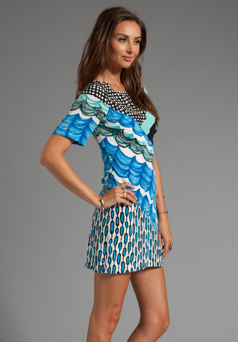 Tracy Reese Silk Prints Spliced Shift Dress