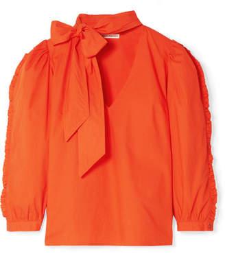 Ulla Johnson Julie Tie-neck Ruffled Cotton-poplin Blouse - Papaya