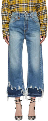 R 13 Blue Double-Shredded Hem High-Rise Camille Jeans