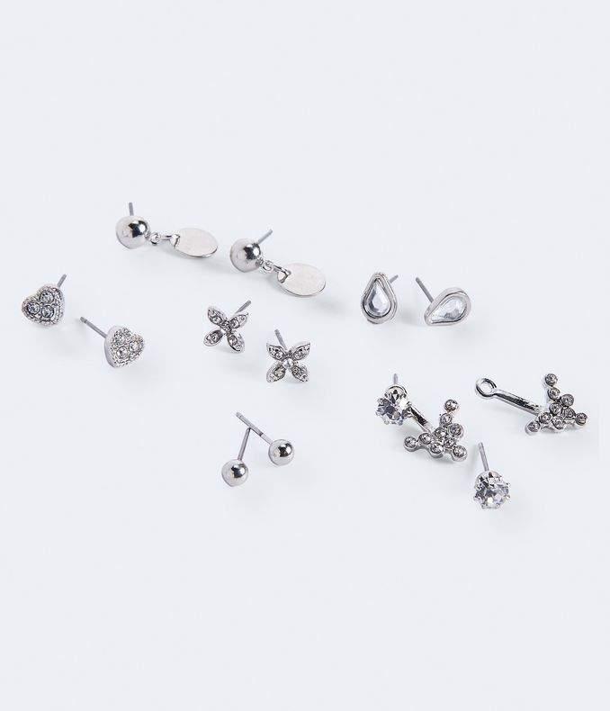 Heart Stud & Ear Jacket Earring 6-Pack