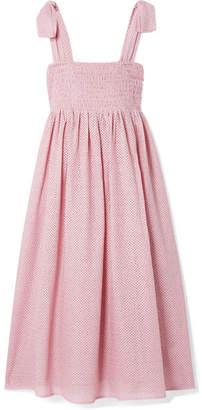 Marysia Swim Sicily Smocked Cotton Midi Dress - Pink