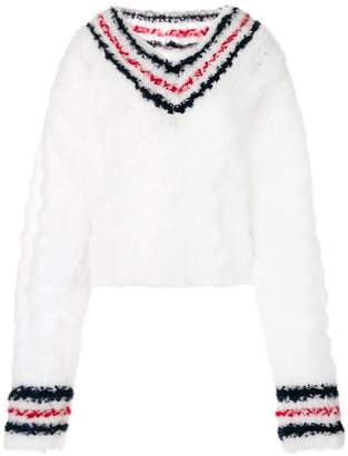 Thom Browne Hand Knitted Cable V-neck Pullover With Cricket Stripe In Shirred Tulle Yarn