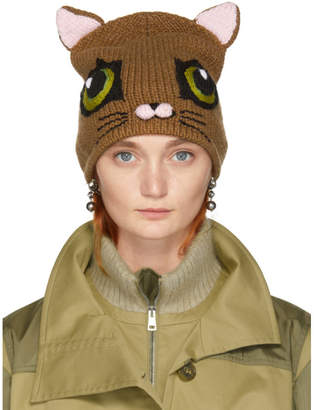 Dolce & Gabbana Brown Cat Beanie