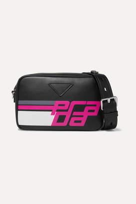 Prada Printed Leather Camera Bag - Black