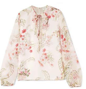 Giambattista Valli Ruffled Floral-print Silk-chiffon Blouse - Ivory