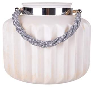 A&B Home Lula Frosted Lantern Candleholder, White