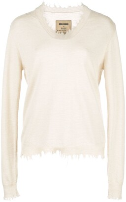 UMA WANG frayed knit jumper