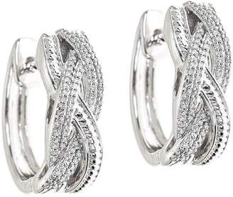Affinity Diamond Jewelry Affinity 1/4 cttw Braided Diamond Hoop Earrings, Sterling