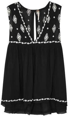 Free People Black Embroidered Textured Top