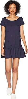 Three Dots Women's Eyelet Jersey Sleeve Loose Short Dress