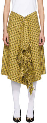 Balenciaga Yellow Houndstooth Fringe Skirt