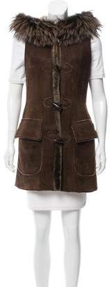 Dennis Basso Fur-Trimmed Hooded Vest