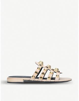 Balenciaga Ladies Beige Studded Leather Sliders