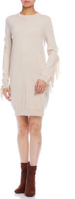 Maison Margiela (メゾン マルジェラ) - Maison Margiela MM6 カシミヤ混 フリンジスリーブ 長袖ニットドレス オフホワイト s