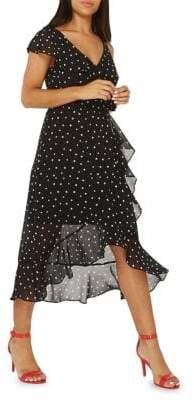 Dorothy Perkins Mono-Spot Chiffon Midi Dress