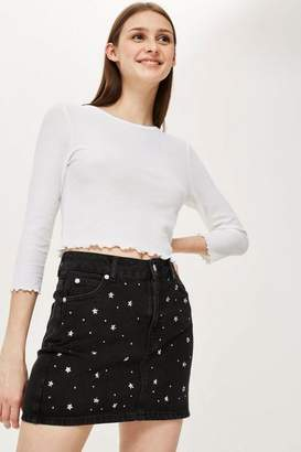 Topshop White 3/4 Sleeve Waffle Top