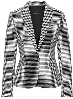 Banana Republic Petite Classic-Fit Bi-Stretch Houndstooth Blazer