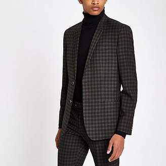 River Island Brown check skinny fit suit jacket