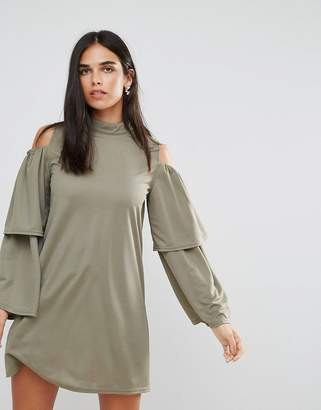 AX Paris Cold Shoulder Frill Sleeve Shift Dress