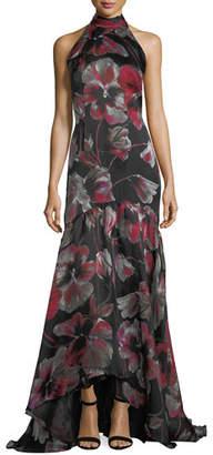 Carmen Marc Valvo Floral-Print Halter Sleeveless Evening Gown