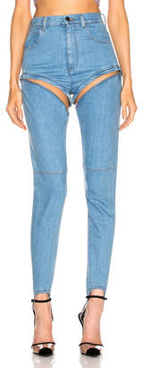Alessandra Rich High Waisted Skinny Stirrup Jean in Light Blue | FWRD