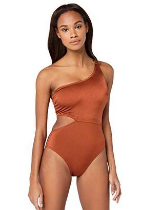 Iris & Lilly Women's Cut Out One Shoulder High Leg Swimsuit,8 (Size:XS)