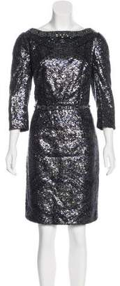 Andrew Gn Long Sleeve Sequin Dress