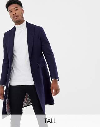 Gianni Feraud Tall premium navy textured boucle wool blend overcoat
