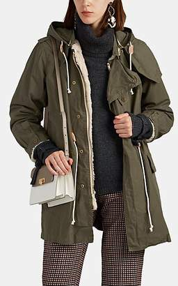 08sircus Women's Faux-Fur-Lined Cotton Military Coat - Beige, Khaki