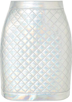 Balmain Iridescent Quilted Faux Leather Mini Skirt - Silver