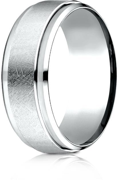 Benchmark Platinum 7mm Comfort-Fit Drop Bevel Swirl Finish Center Cut Design Wedding Band