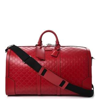 Gucci Signature Duffle Monogram Guccisssima Large Hibiscus Red
