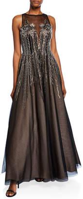 Aidan Mattox Bead Embellished High-Neck Sleeveless Ball Gown