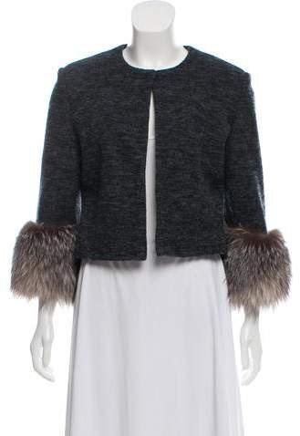 Adrienne Landau Fox-Trimmed Wool Jacket