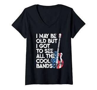 Womens I May Be Old But I Got To See All The Cool Bands American V-Neck T-Shirt