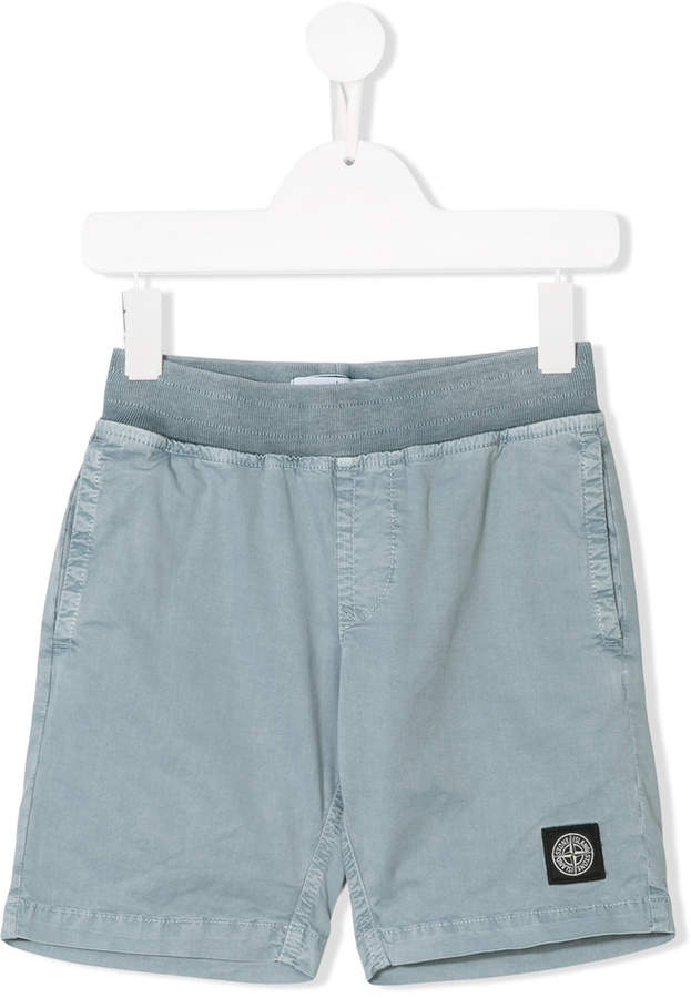 Stone Island Junior logo patch shorts