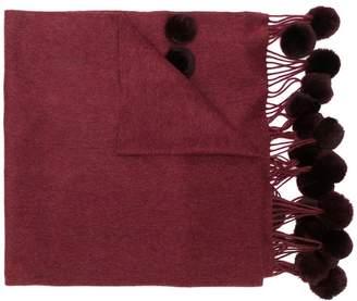 N.Peal pom-pom fringed scarf