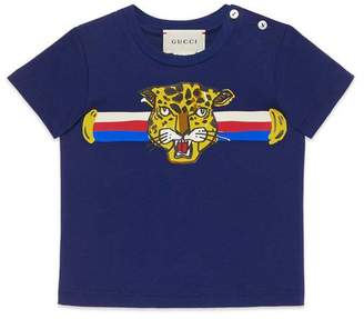 Gucci Baby T-shirt with leopard print