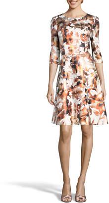 Label By 5twelve A-Line Foil Print Dress, White