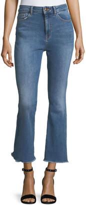 DL1961 Premium Denim Jackie Trimtone Crop Flare Jeans in Marker
